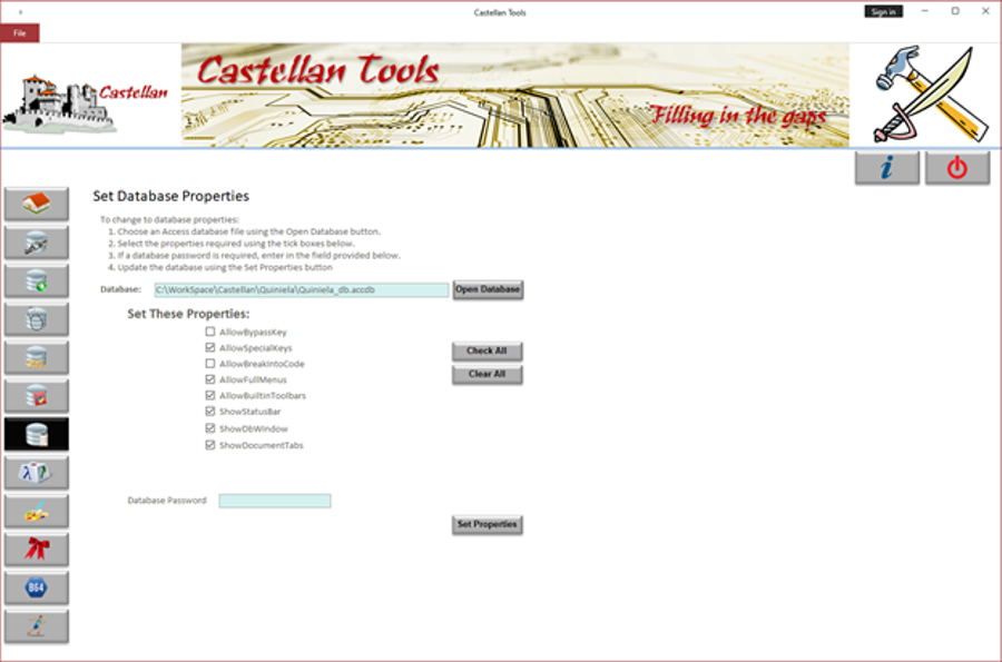 CastellanTools Window